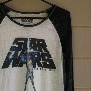 Star Wars Burn out Baseball Tee Shirt Large